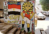 Street art in Islamic Cairo in the city of Cairo in Egypt in North Africa.