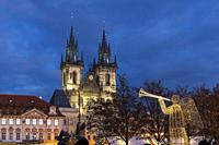 Old town square in Prague at Christmass time, Czech Republic.