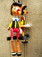 Pinocchio puppet in the City of Siena - Tuscany, Italy.