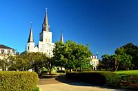 St Louis Cathedral rises over historic Jackson Square in New Orleans.