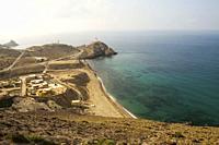 Almería province, Andalucia, Spain, Europe. . Cabo de Gata-Níjar Natural Park, Cala y Playa del Corralete (Corralete beach).