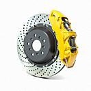 Car brake disk with caliper isolated on white background. Braking system. 3d illustration.