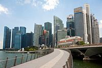 Singapore, Republic of Singapore, Asia - View of the city skyline with skyscrapers in the central business district and the Jubilee Bridge along the w...