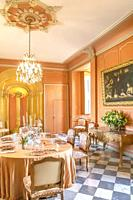 Dining room inside the Chateau de Villandry, Loire, France.