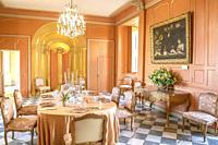 Dining room inside the Chateau de Villandry in the Loire Valley, France.
