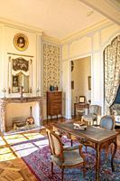 Bedroom inside the Chateau de Villandry, Loire, France.