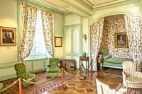 Green bedroom inside the Chateau de Villandry, Loire, France.