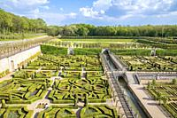 The vast gardens of the Chateau de Villandry, Loire Valley, France.