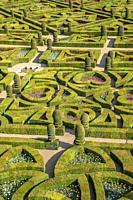 The ornamental garden of the Chateau de Villandry, Loire Valley, France.