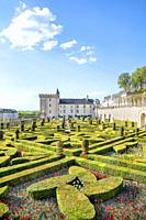 The Chateau and ornamental garden of Villandry.