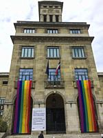 Montreuil, France, City Hall Building with Gay Rainbow Flag on Display, International LGBTI Phobia Day.