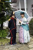 Glover Mansion, people,period costumes,Nagasaki,Kyushu island,Japan,Asia.