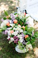 elegant wedding decorations made of natural flowers and green elements.