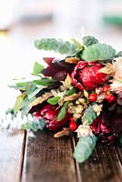 elegant wedding bouquet of fresh natural flowers and greenery.