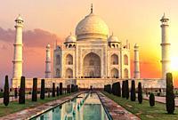 Taj Mahal at sunset, beautiful scenery of India.