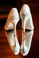 wedding shoes of the bride, beautiful fashion.