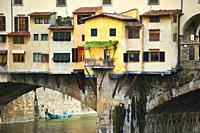 "Details of the medieval walls """"Ponte Vecchio """" historic brige in Florence, Italy."