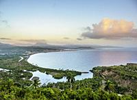 View over Bahia de Miel towards city and El Yunque Mountain, Baracoa, Guantanamo Province, Cuba.