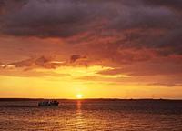 Sunset over Cienfuegos Bay, La Punta, Cienfuegos, Cienfuegos Province, Cuba.