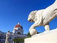 Lion Sculpture and Palacio de Gobierno, Main Square, Cienfuegos, Cienfuegos Province, Cuba.