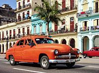 Vintage car at Paseo del Prado or Paseo de Marti, Havana, La Habana Province, Cuba.