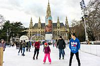 Vienna, Austria, Austrian Teenagers Ice Skating in Front of City Hall Building, Rathaus,.
