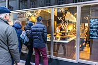 Vienna, Austria, People WIndow Shopping, Swiss Chocolate Shop, Vittorio Chocolatier.