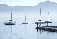 veleros fondeados. bahia de Pollença, Mallorca, Balearic Islands, Spain.