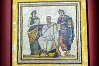 Virgil with Muses Clio and Melpomene on a roman mosaic. Bardo National Museum. Tunis city. Tunisia, Africa.