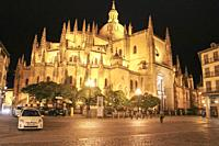 Cathedral in Segovia (Spain) at night from Plaza Mayor square.