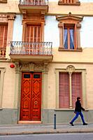 facade of residential building, Sant Feliu de Codines, Catalonia, Spain