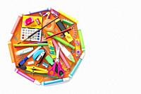 School supplies octagon shape back to school concept isolated on white.