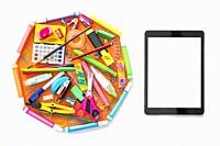E-learning online learning with tablet PC and school supplies isolated on white.