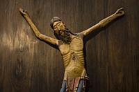 cristo de Siresa,talla en madera de nogal policromada,sigloXIII,iglesia del monasterio de San Pedro, siglos XI-XII,Siresa,valle de Hecho, pirineo arag...