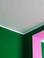 Detail of internal Walls paitend in pink and green.