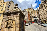 The West Bow Well, On the Corner of West Bow and Grassmarket, Victoria Street, Old Town, Edinburgh, Scotland, United Kingdom, Europe.