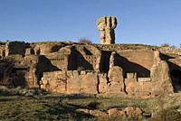 Roman city of Tiermes, Centuries I to III A.C., cave houses carved in sandstone, Pela Mountains, Montejo de Tiermes, province of Soria, Castilla y Leo...