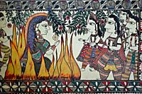 Madhubani style mural painting representing a sati ( Madhubani, India). The Madhubani ( or Mithila) art is a traditional art form practised in norther...