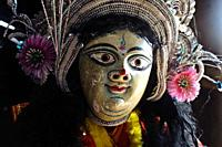 Purulia Chhau dancer playing the role of the hindu god Loki ( West Bengal, India). The Chhau dance is a dance originating from eastern India. It is di...