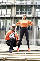 couple wearing futuristic fashion style