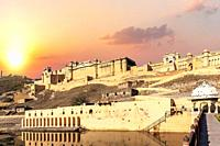 Amber Fort of India, Jaipur, full view at sunset.