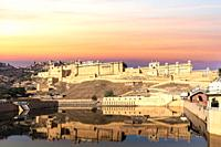 Amber Fort in India, Jaipur, sunset view.