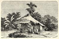 Bombay slum, India. Old engraving illustration from El Mundo en la Mano 1878.