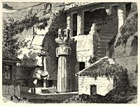Facade of the Great Chaitya. Karli, India. Old engraving illustration from El Mundo en la Mano 1878.