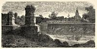Panoramic overview of Vadodara (Baroda). Gujarat, India. Old engraving illustration from El Mundo en la Mano 1878.