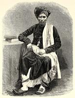 Portrait of Baniano Merchant of Surat, Gujarat. India. Old engraving illustration from El Mundo en la Mano 1878.