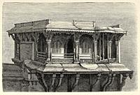 Queen Palace Pavilion, Vadodara (Baroda). Gujarat, India. Old engraving illustration from El Mundo en la Mano 1878.