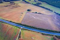 Agricultural area. Aerial view. Ayegui area. Navarre, Spain, Europe.