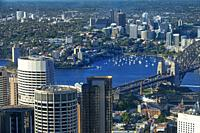 Aerial view of Sydney Harbour bridge architectural landmark and lavender bay Sydney, New South Wales, AUSTRALIA.