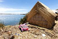 Traditional reed boat (totora) in the Uros Islands, Titicaca Lake or Titikaka Lake, Peru, South America.